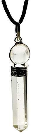 Eclectic Shop Uk Kwarts Kristal Twee Deel Hanger Punt & Sphere Edelsteen Koord Ketting Sieraden Gekoorde Ketting Universele Genezer