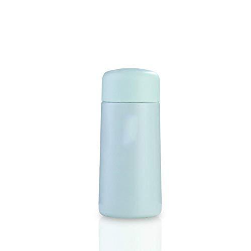 AbesterMini termo de bolsillo botella de agua caliente con filtro de té vaso de acero inoxidable 304 botella sin aire taza de viaje de café de doble pared-Azul 150ml