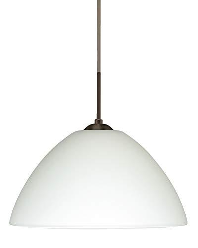 Besa Lighting 1JT-420107-BR 1X75W A19 Tessa Pendant with White Glass, Bronze Finish