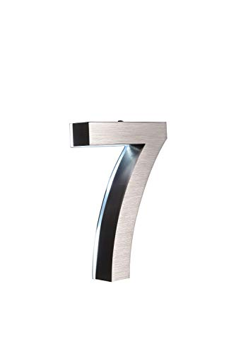 LED Hausnummer 7 Edelstahl V2A 3D Höhe 20cm beleuchtet rostfrei mit Tranformator 220 Volt Dämmerungssensor vollautomatisches An und Aus erhältlich 0 1 2 3 4 5 6 7 8 9 a b c d