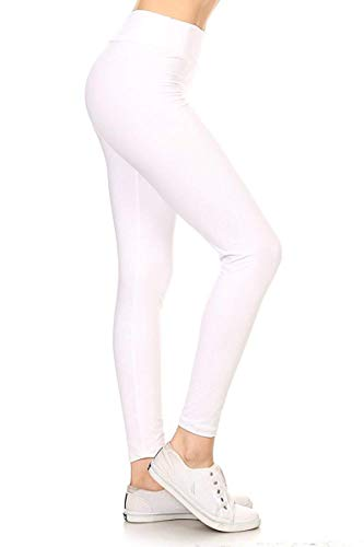 LYR128-WHITE2 Yoga Solid Leggings, One Size