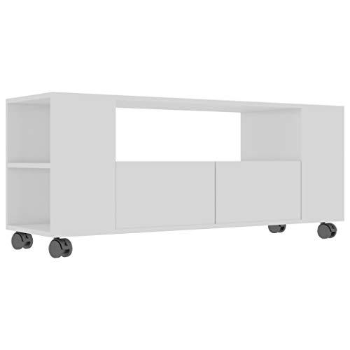 vidaXL TV Schrank mit Rollen 2 Schubladen Lowboard TV Möbel Board Fernsehtisch Fernsehschrank HiFi-Schrank Hochglanz-Weiß 120x35x43cm Spanplatte