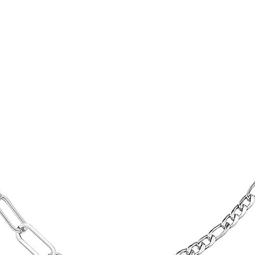 chaosong shop Elegante cadena Figaro para mujer, de acero inoxidable, con capas de cadena de acero inoxidable para mujer