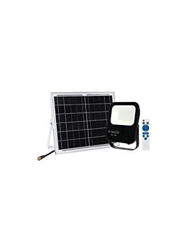 SOLLED Proyector Solar LED 60W Negro Grafito Luz Blanca 6000K 1500Lm Orientable IP65 Exterior, IK07, Conector XT60 Alta Luminosidad MANDO A DISTANCIA INCLUIDO FL4-60W-SOLAR