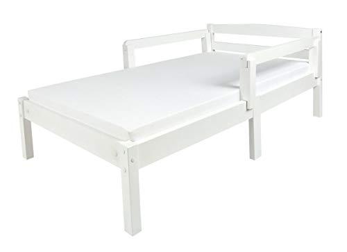 Leomark Individual Cama Infantil de Madera - Classic White - con colchón, somier, barra de seguridad, para niños, color blanco, moderno y elegante Mobiliario, Espacio para dormir: 70x140 cm