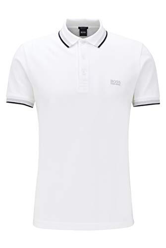 BOSS Herren Paddy Poloshirt aus Baumwoll-Piqué mit Streifen an Kragen und Ärmelbündchen