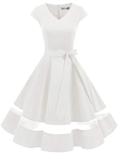 Gardenwed 1950er Vintage Retro Rockabilly Kleider Petticoat Faltenrock Cocktail Festliche Kleider Cap Sleeves Abendkleid Hochzeitkleid White XS
