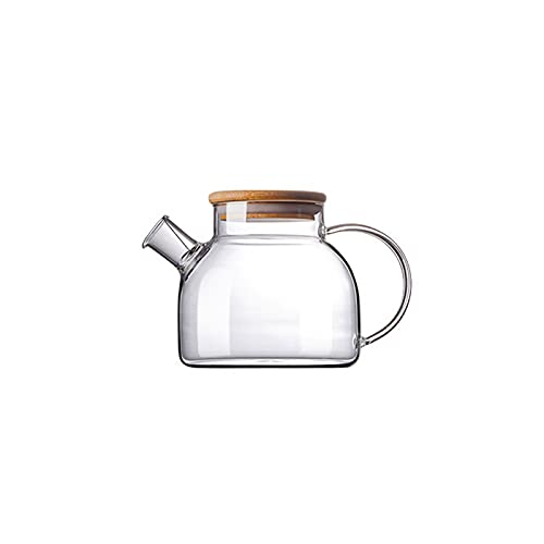 Tetera de vidrio para estufa, segura y transparente, gran capacidad de vidrio borosilicato con boquilla de filtro extraíble, tetera para hojas sueltas y té floreciente (tamaño A: A)