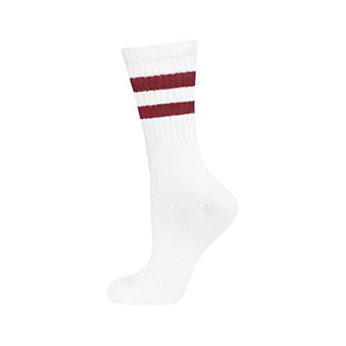 soxo Damen und Herren Socken | Unisex Klassische Retro Sportsocken | Weiß mit Streifen