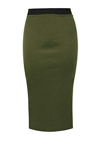 Zee Fashion Damen Bleistiftrock, Stretch, kontrastierend, elastischer Bund, figurbetont, einfarbig, Büro, Midi-Rock, Übergröße 36-54 Gr. 50-52, khaki