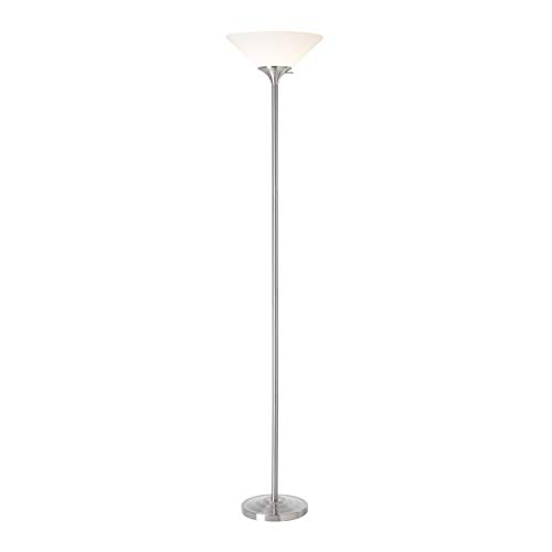 Normande Lighting 150-Watt Incandescent Concord Torchiere Lamp, Brushed Steel