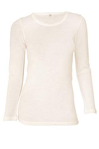 Dilling Merino Langarmshirt für Damen - Extra Feine Unterwäsche aus 100% Bio Merinowolle Natur 40