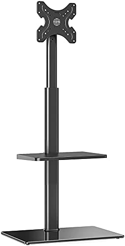 Floor TV Stand with 2 Shelves for 19' 42' Screen 16 Adjustable Heights 70 deg Swivel Tiltable Bracket MAX. VESA 200x200 mm Cable
