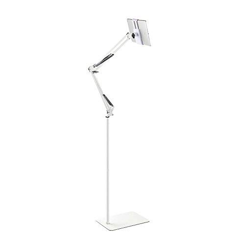 Spessn Adjustable Floor Stand Universal 360-degree Rotatable Metal Tablet Holder Compatible Samsung Galaxy Tab and Phones(White)