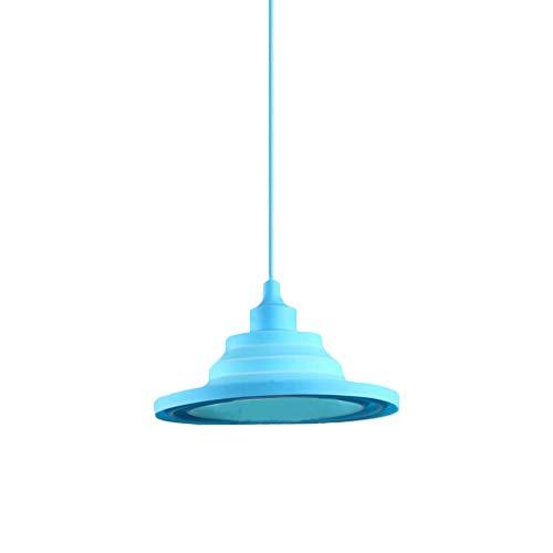 ZZM Silikon-Lampenschirm, für Kinderzimmer, kleiner Kronleuchter, faltbar, Hängeleuchten zum Selbermachen, bunte Lampenschirmabdeckung, E27-Halterung blau