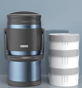 Fiambrera aislada de gran capacidad multicapa para estudiantes de oficina o trabajador portátil con separación de 2,4 l (color: azul)