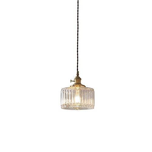 NZDY Mini Iluminación Colgante de Forma Cilíndrica Minimalista de Estilo Japonés, Lámpara de Araña de Cristal Transparente de una Sola Cabeza Creativa, Lámpara Colgante Transparente de Forma de Linte