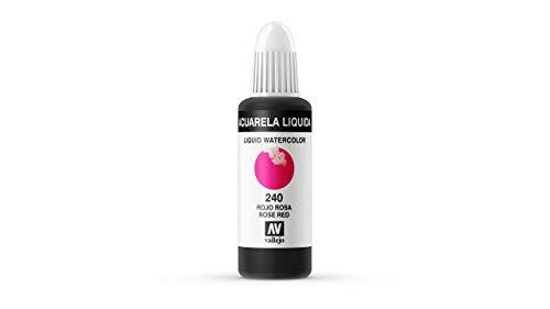 Vallejo - Acuarela líquida 32ml, color rojo rosa