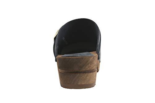 Sanita Urban | Zuecos Abiertos | Producto Artesanal Original para Mujer | Zuecos de Piel con Suela de Madera | Azul Oscuro | 39 EU