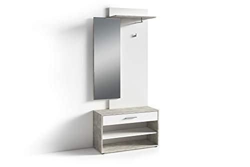 HOMEXPERTS Kompakt-Garderobe JANUS / Garderoben-Set mit Spiegel und viel Stauraum / Beton-Optik Grau und Weiß / Flexibel aufbaubar / Schuh-Schrank / Kleider-Stange / 85x196x35cm (BxHxT)