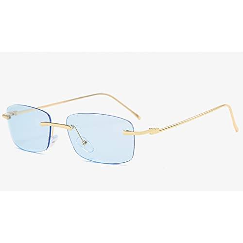 Tanxianlu Gafas de Sol rectangulares Doradas Sin Montura Uv400 Metal Retro Señoras Gafas de Sol Vintage Azul Sin Marco,D