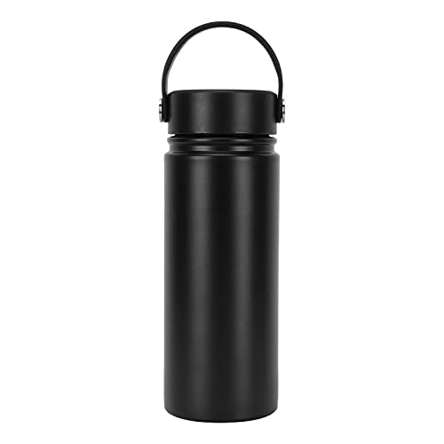 Demeras Thermos - Botella de agua de acero inoxidable 304 a prueba de fugas, fácil de sostener para profesores para viajes para estudiantes para exteriores (negro, 500 ml)