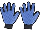 SVK Dream Pet Grooming Glove,Efficient Pet Hair Remover Glove with 259 Silicone Tips - Gentle De-shedding Brush Gloves for Cat & Dog with Long & Short Fur- Pet Massage Glove with Five-finger Design-2 pc(Blue)