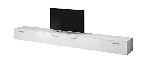 E-Com TV Möbel Lowboard Schrank Ständer Boston Korpus weiß/Front weiß Hochglanz 300 cm