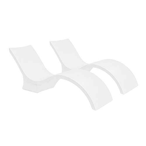 Ledge Lounger in-Pool Chaise Deep Lounge for 10-15 in. of Water (Set of 2, White)