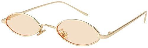 GMYQ Gafas de sol ovaladas vintage con marco de metal ovaladas, delgadas de color caramelo, gafas de sol de diseño de moda, estilo retro, forma de pétalos pequeños, color marrón