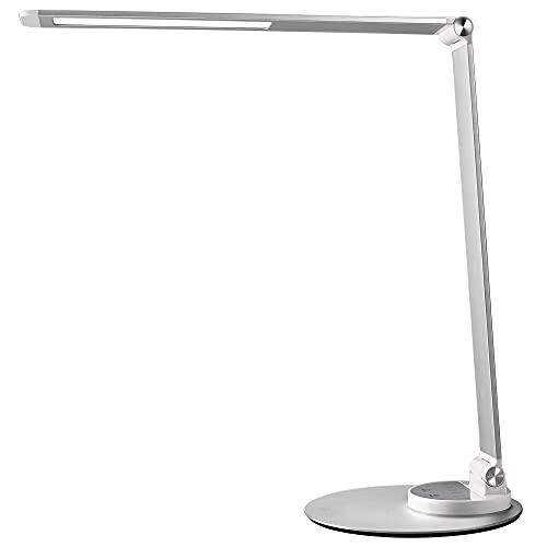 Lampada da Scrivania, Lampada da Tavolo Ufficio LED 12W con 6 Luminosità + 3 Temperature di Colore, Porta di Ricarica USB per Smartphone, LED Occhi-Cura, Funzione Memoria