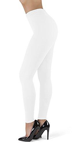 SATINA High Waisted Ultra Soft Full Length Leggings | 1' Waistband | 22 Colors | (OS, White)
