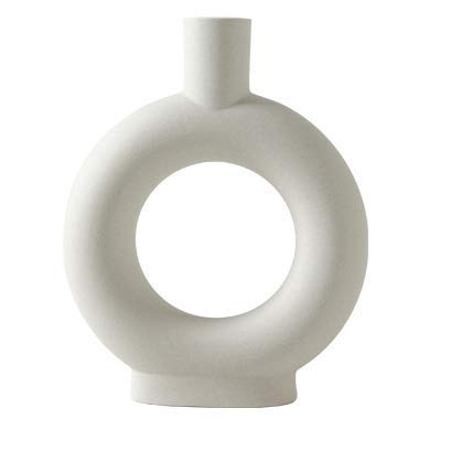 Ceramic Vase Modern Geometric Decorative Flower Vase for Home Decor Living Room Bedroom Office and Dining Table Decoration, Unique Shape Vase is Perfect as a Gift, White (9 in High)
