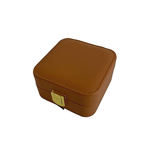 Almacenamiento de joyas Oganizer Joyero de almacenamiento cuadrado europeo, PU Organizador de almacenamiento de cuero, collar portátil Pendientes Pulsera de anillo Jewel Box Para niñas y regalo de las