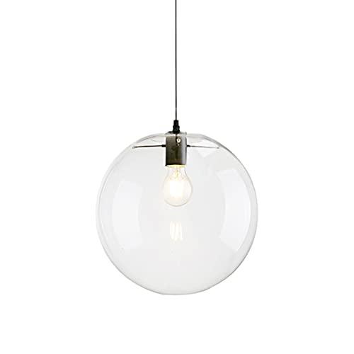 Wings of wind - Pantalla de cristal de bola E27 Lámpara colgante de luz Lámpara de gota transparente Lámpara colgante Portalámpara negro (30cm)