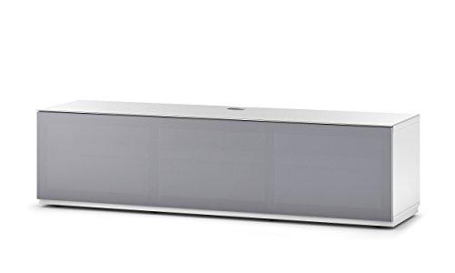 Sonorous STA 160T-WHT-GRY-BW hängende TV-Lowboard mit Sockel, weißer Korpus, obere Fläche, gehärtetem Weißglas und Klapptür mit grauem Akustikstoff