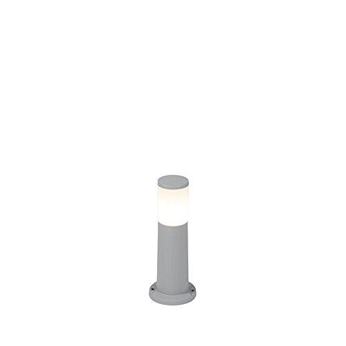 QAZQA Modern Moderner Außenmast grau 40 cm IP55 inkl. E27 - Carlo/Außenbeleuchtung Kunststoff Länglich LED geeignet E27 Max. 1 x 6 Watt