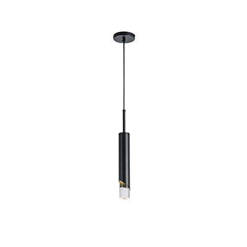 Led Simple Acrílico Color Negro Lámpara De Araña,Moderno 5w Ajustable Luz Cálida Lámpara Colgante,Cilíndrica Lámpara De Techo Para Salón Comedor-Luz cálida 6x30cm(2x12inch)