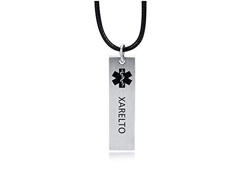 XUANPAI XARELTO Halskette Schwarz Medizinischer Alarm Rechteck ID Tag Name Identifikation Gravur Notfall SOS Anhänger für Männer Frauen