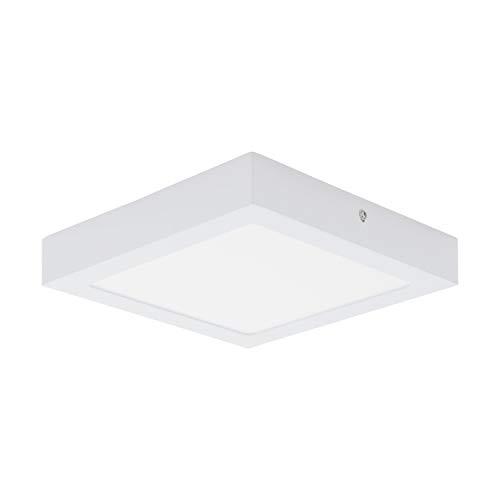 EGLO LED Deckenleuchte Fueva 1, 1 flammige Deckenlampe, Material: Metallguss, Kunststoff, Farbe: Weiß, L: 22,5x22,5 cm, warmweiß, Wandleuchte