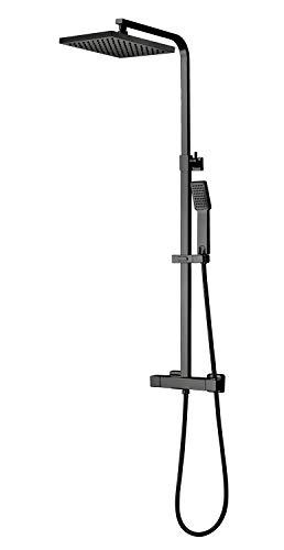 Badplaats B.V. Duschset Levu Duschsystem Duscharmatur mat Schwarz Regendusche Komplettset Duschsäule Thermostat
