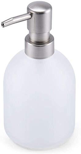 HLZY Dispensadores de jabón de encimera de baño, Jabón de la Botella de Cristal 14.2 Oz loción dispensador de jabón dispensador de jabón Oval con Bomba de Metal (Acero Luxe) Cocina y baño líquido