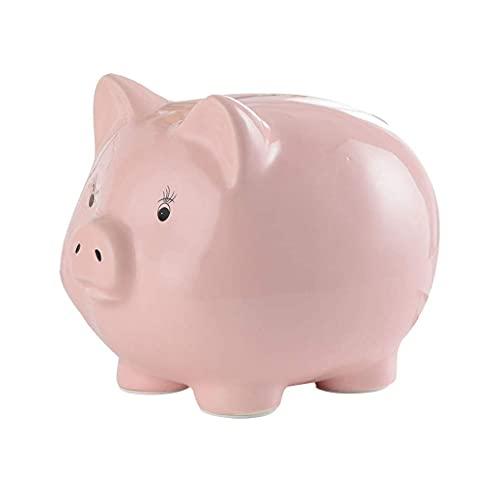 Alcancía de ahorro, hucha de cerámica, hucha para el hogar, hucha de monedas, caja de almacenamiento de cambio, regalo de gran capacidad, para adultos (azul, rosa, blanco) Caja de seguridad / bancos