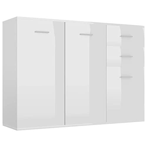 vidaXL Sideboard mit 3 Türen 2 Schubladen Highboard Kommode Standschrank Mehrzweckschrank Anrichte Schrank Hochglanz-Weiß 105x30x75cm Spanplatte