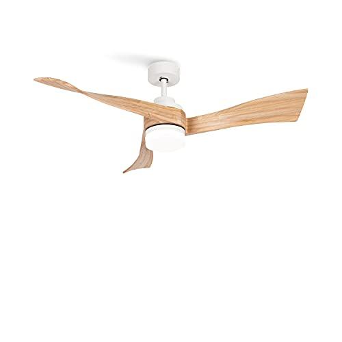 CREATE IKOHS WINDLIGHT CURVE DC - Ventilador de Techo con Mando a Distancia, 3 Aspas de Madera Natural, Potencia de 40W DC Ultrasilencioso, 132 cm de Diametro, 6 Velocidades