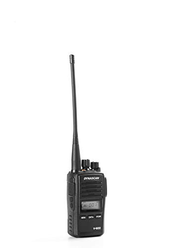 Dynascan V-600 - Transceptor Profesional Comercial VHF (136-174 MHz, 256 Canales, Resistente al Agua IP67) Color Negro
