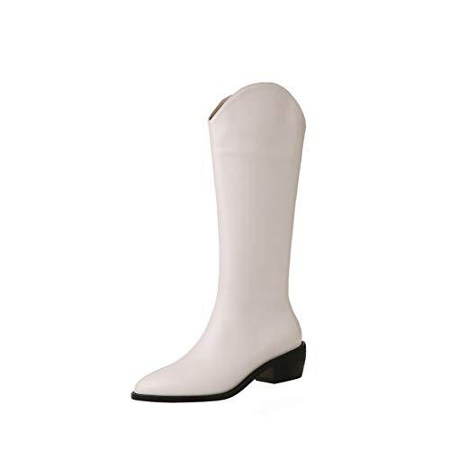 Damskie kozaki do kolan, buty kowbojki na grubym obcasie w szpic, skórzane kozaki z bocznym zamkiem (Color : White, Size : 36 EU)