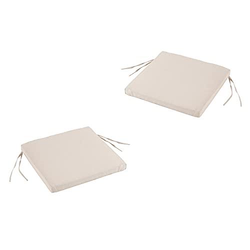 Edenjardi Lot de 2 Coussins de siège pour extérieur Couleur Luxe crème| Dimensions: 44x44x5 cm | Imperméable | Déhoussable | Livraison Gratuite