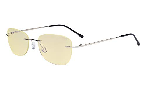 Eyekepper Gafas con Bloqueo de Luz Azul Mujeres con Lente de Filtro Amarillo - Gafas de Lectura sin Montura para Computadora Plata+0.50