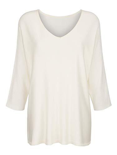 Alba Moda Damen Glattstrick Pullover mit 3/4-Ärmel in Creme-Weiß in Softer Qualität